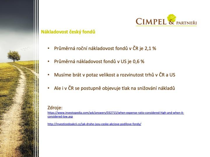 Průměrná nákladovost českých akciových fondů je 3x vyšší než je to v USA