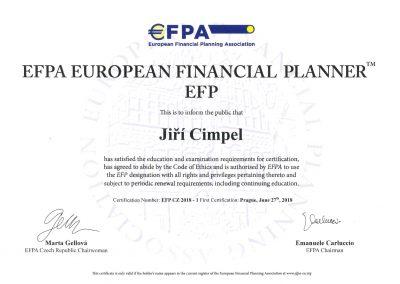 EFPA European financial planner - Jiří Cimpel