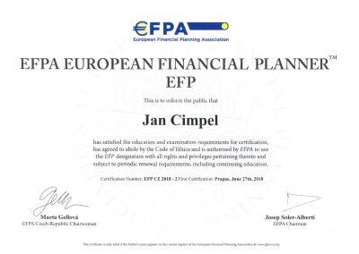 EFPA European financial planner - Jan Cimpel