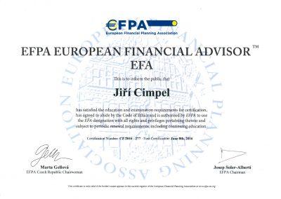 EFPA European financial advisor - Jiří Cimpel