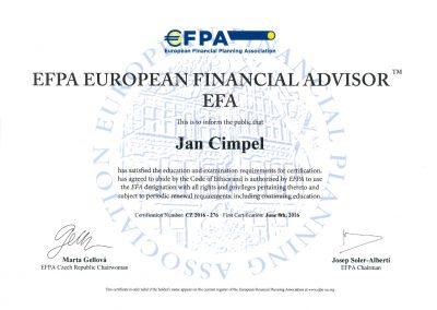 EFPA European financial advisor - Jan Cimpel